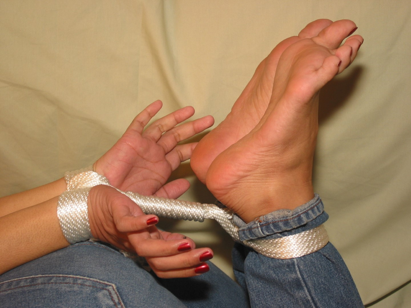 Bare bondage foot tied toe